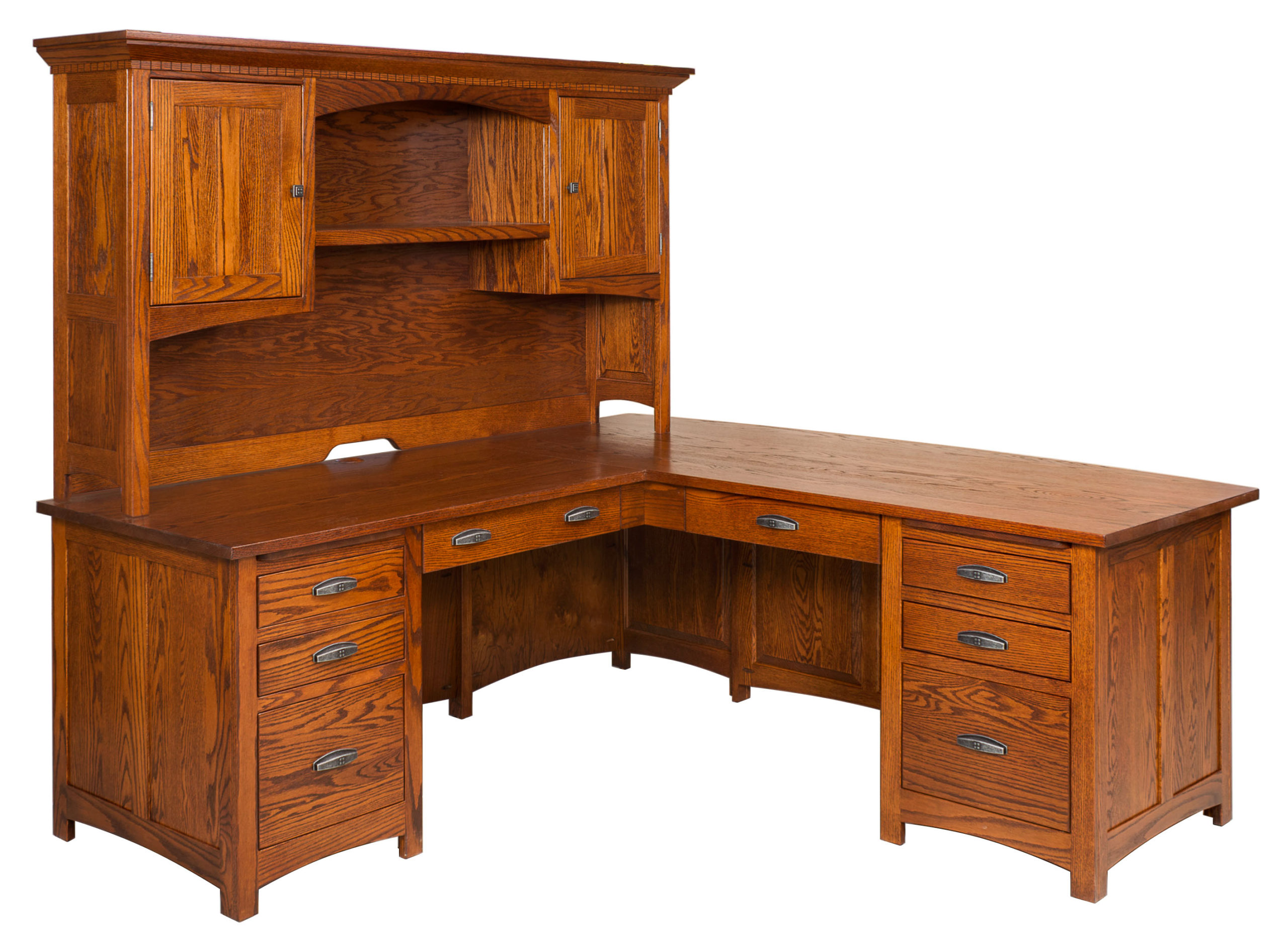 Oakwood L Desk Amish Solid Wood Desks Kvadro Furniture